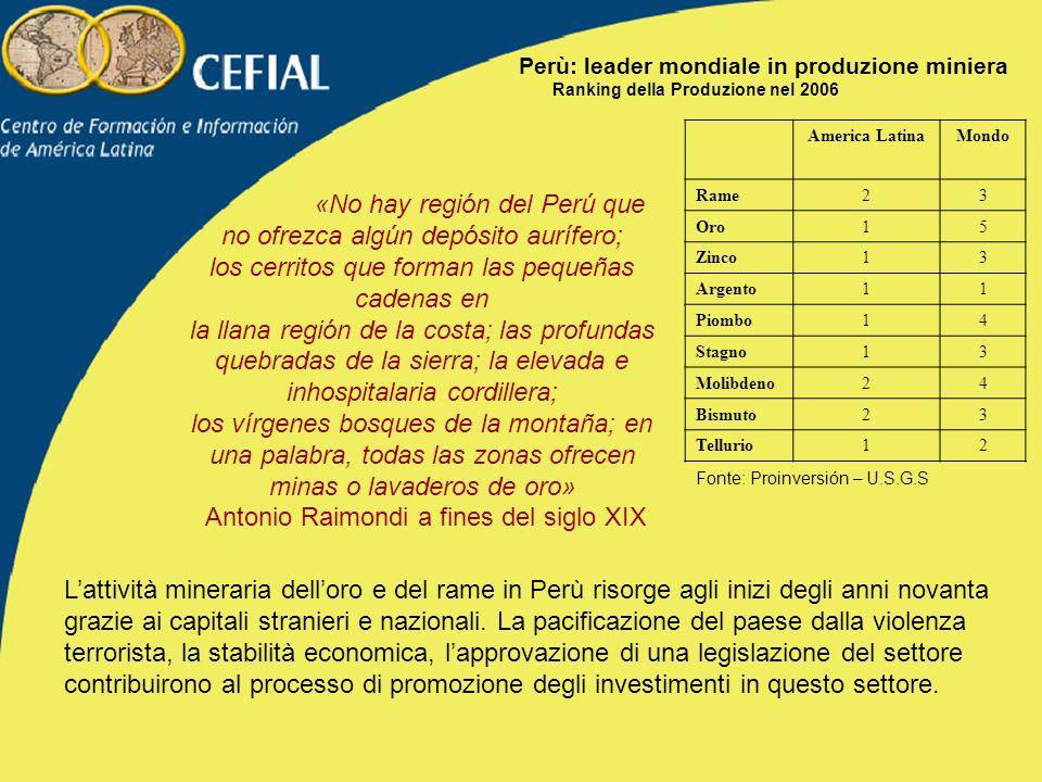 «No hay región del Perú que no ofrezca algún depósito aurífero;