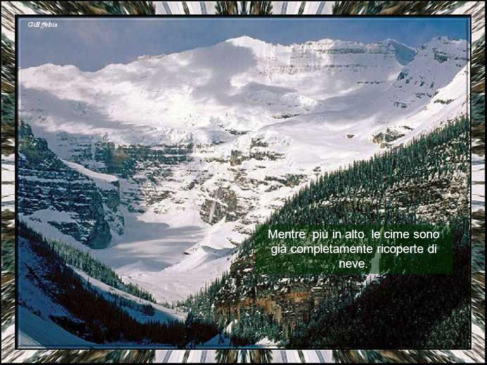 Mentre più in alto le cime sono già completamente ricoperte di neve.