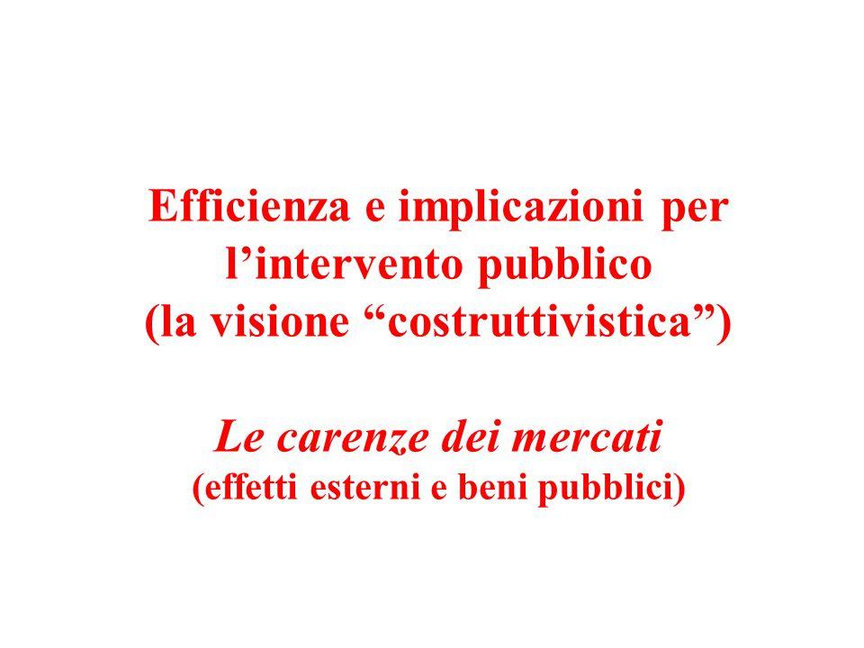 Efficienza e implicazioni per l'intervento pubblico (la visione costruttivistica ) Le carenze dei mercati (effetti esterni e beni pubblici)