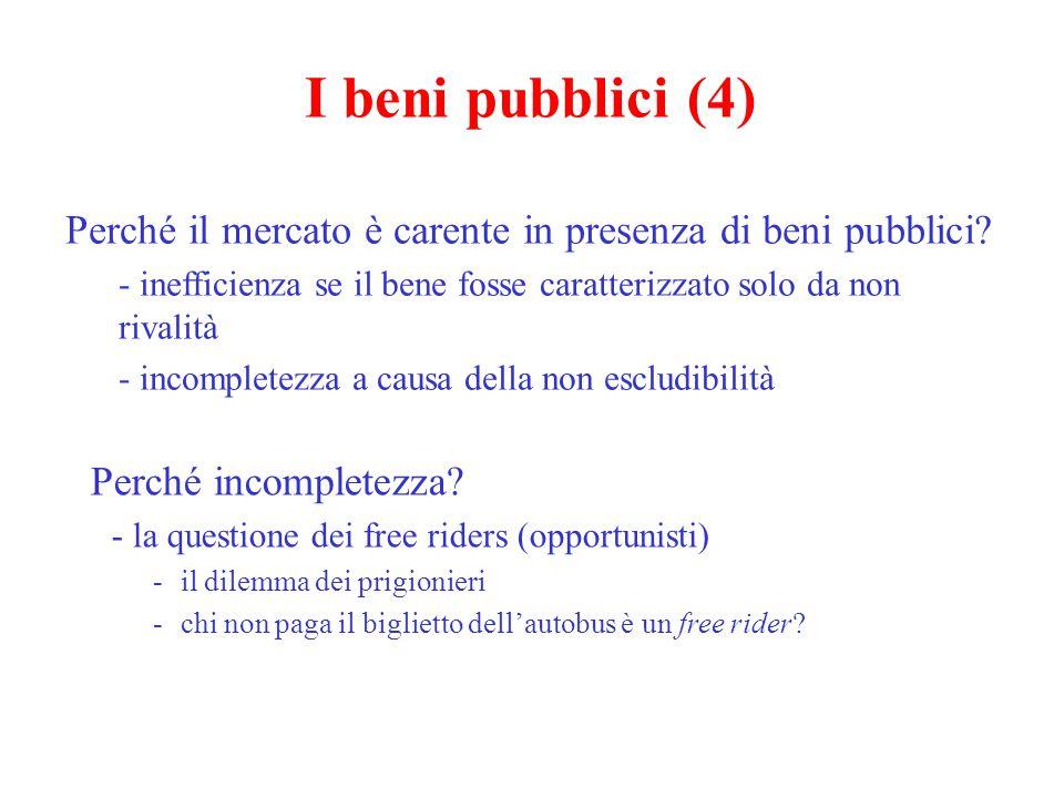 I beni pubblici (4) Perché il mercato è carente in presenza di beni pubblici inefficienza se il bene fosse caratterizzato solo da non rivalità.