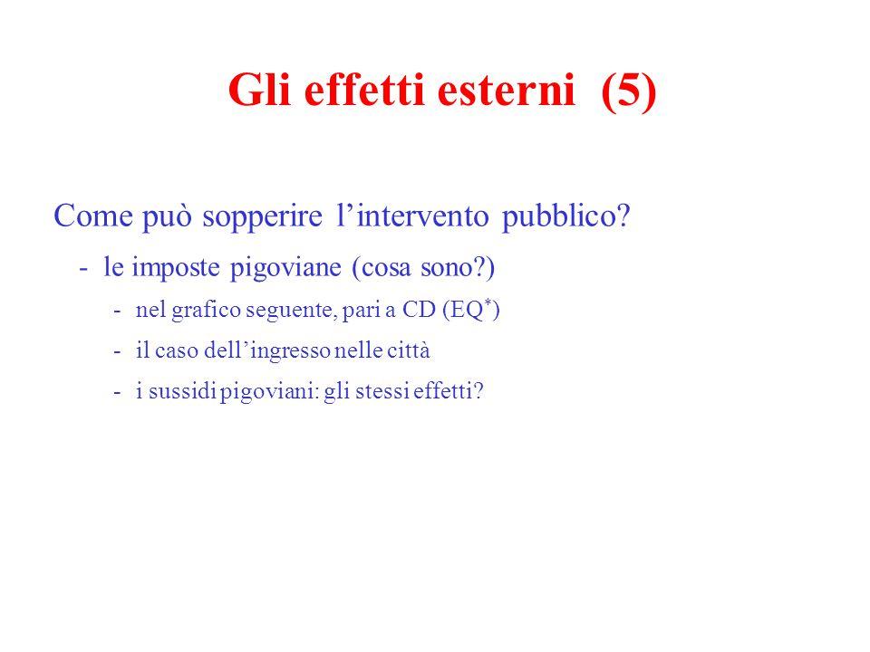 Gli effetti esterni (5) Come può sopperire l'intervento pubblico