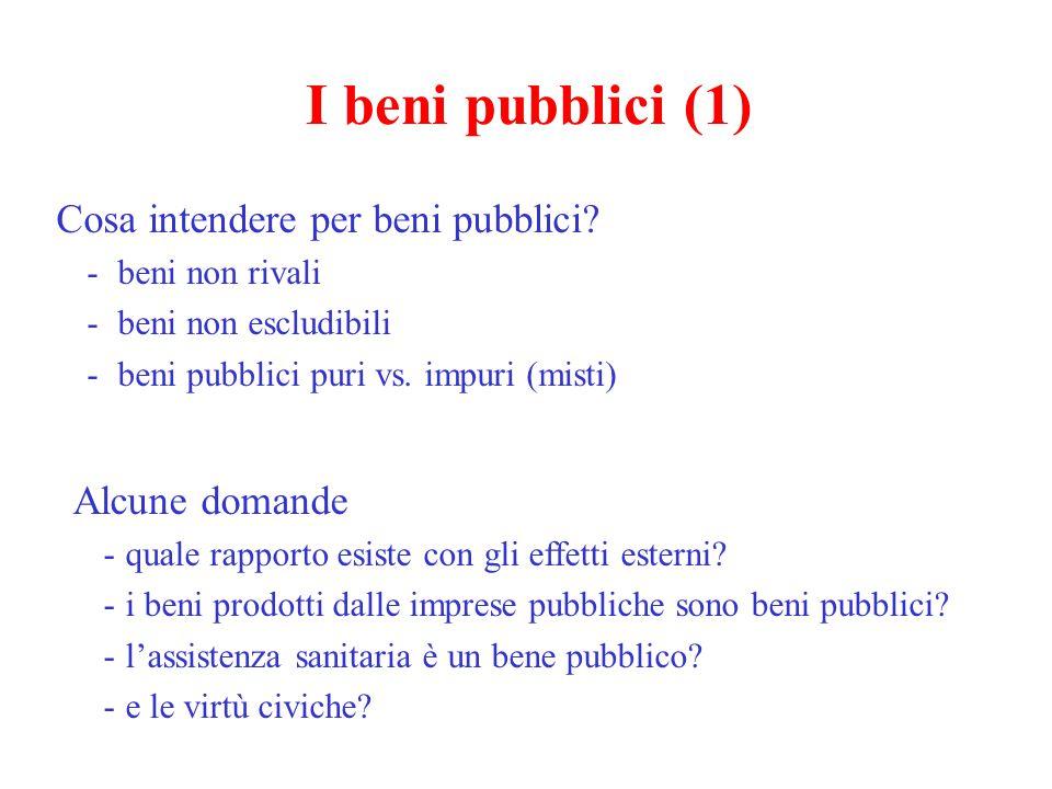 I beni pubblici (1) Cosa intendere per beni pubblici Alcune domande