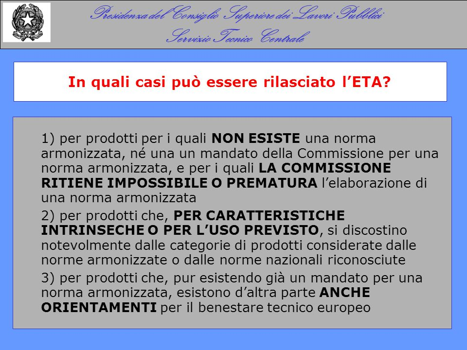 Contenuto di un benestare tecnico europeo ETA