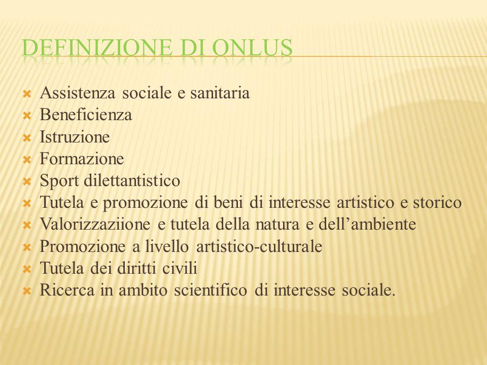 Definizione di onlus Assistenza sociale e sanitaria Beneficienza