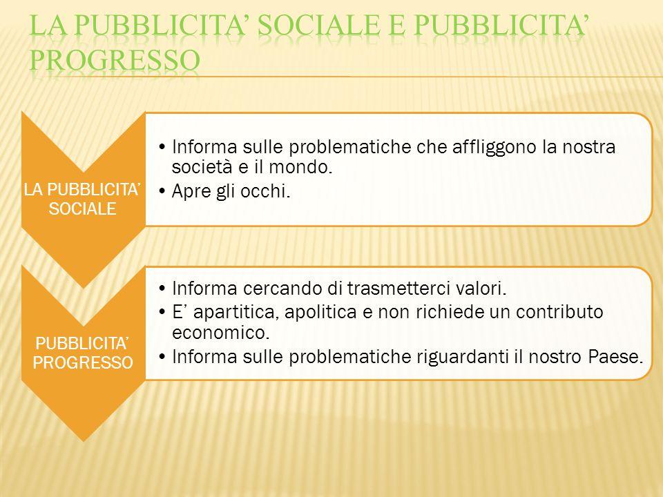 LA PUBBLICITA' SOCIALE E PUBBLICITA' PROGRESSO