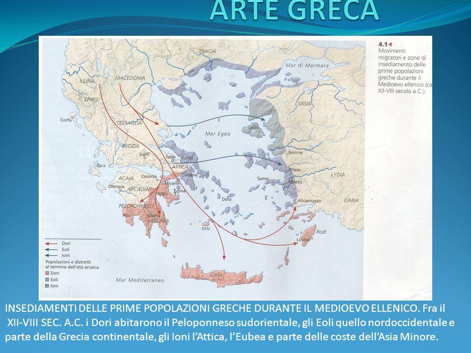 ARTE GRECA INSEDIAMENTI DELLE PRIME POPOLAZIONI GRECHE DURANTE IL MEDIOEVO ELLENICO. Fra il.