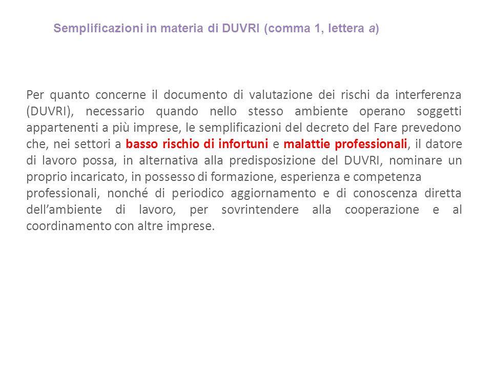 Semplificazioni in materia di DUVRI (comma 1, lettera a)