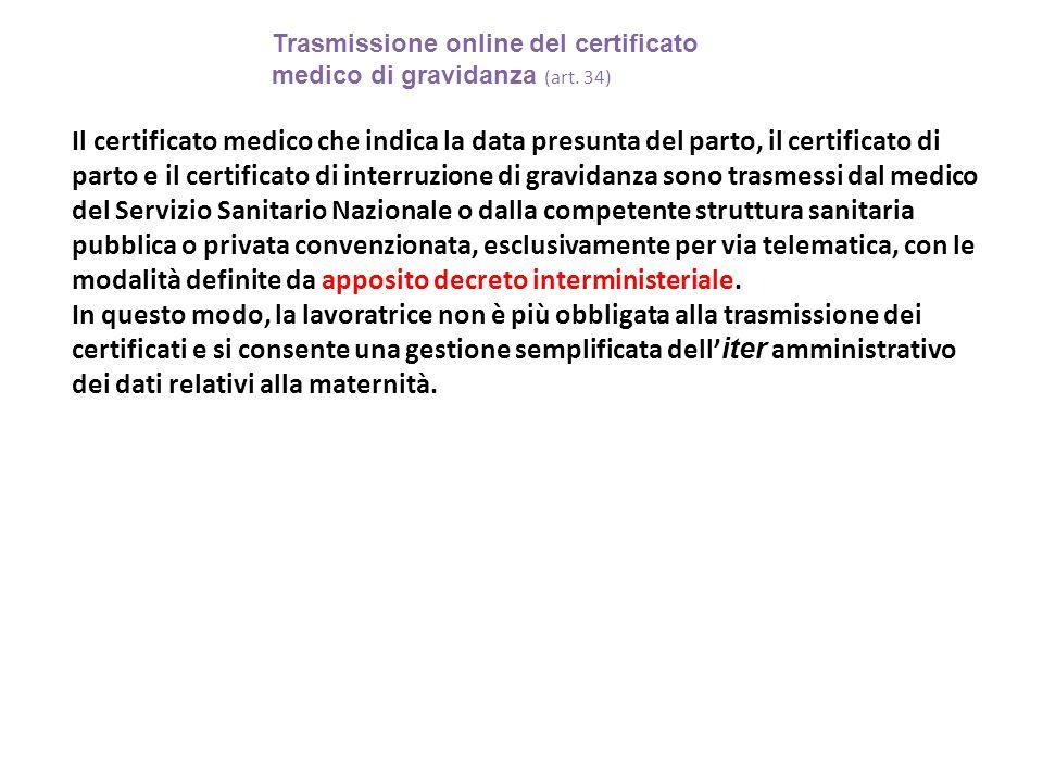 Trasmissione online del certificato