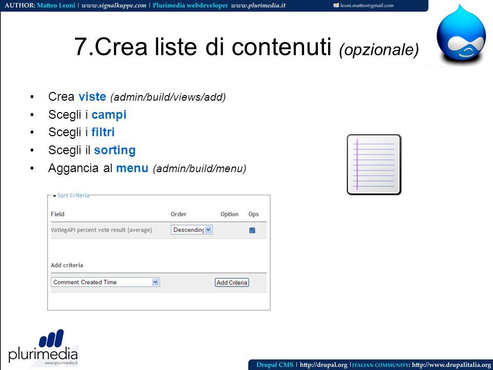 7.Crea liste di contenuti (opzionale)