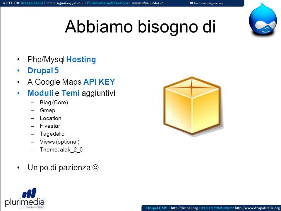 Abbiamo bisogno di Php/Mysql Hosting Drupal 5 A Google Maps API KEY