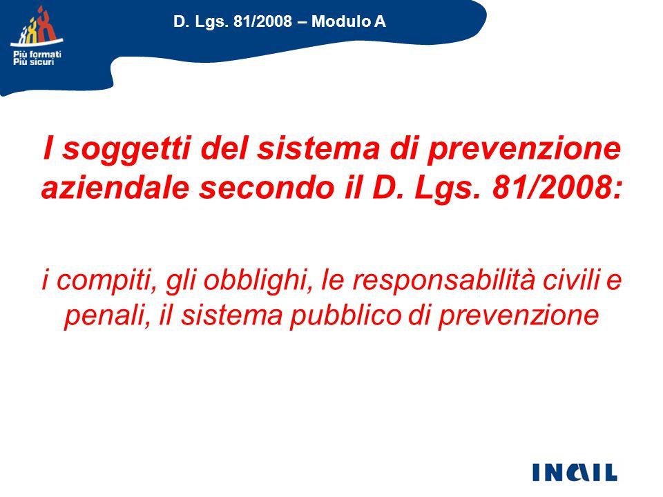 I soggetti del sistema di prevenzione aziendale secondo il D. Lgs