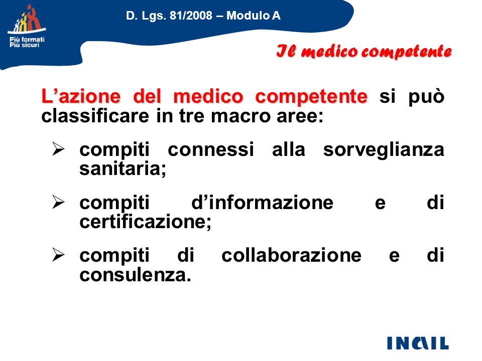 L'azione del medico competente si può classificare in tre macro aree: