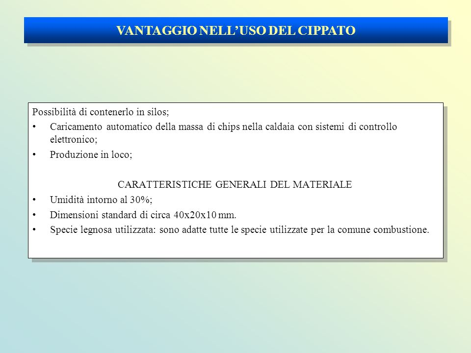 VANTAGGIO NELL'USO DEL CIPPATO