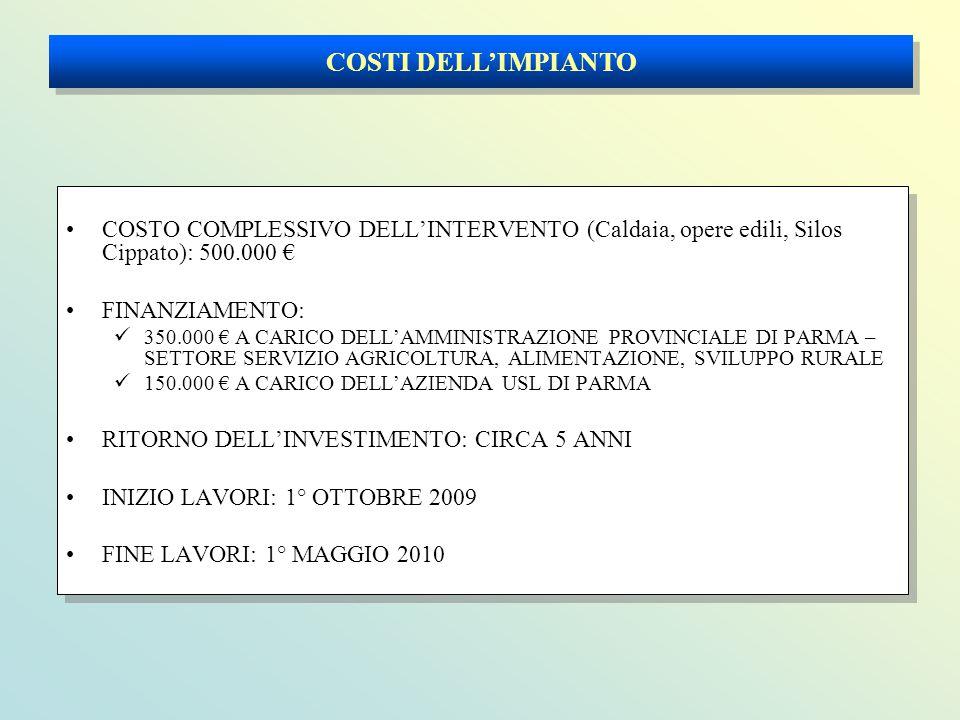 COSTI DELL'IMPIANTO COSTO COMPLESSIVO DELL'INTERVENTO (Caldaia, opere edili, Silos Cippato): 500.000 €