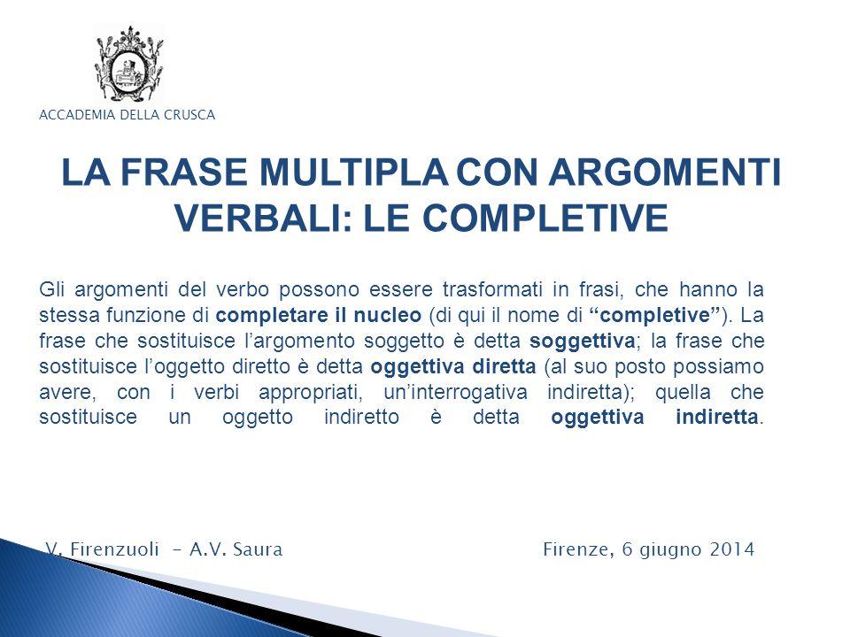 LA FRASE MULTIPLA CON ARGOMENTI VERBALI: LE COMPLETIVE