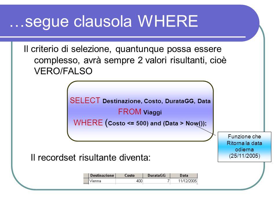 …segue clausola WHERE Il criterio di selezione, quantunque possa essere complesso, avrà sempre 2 valori risultanti, cioè VERO/FALSO.