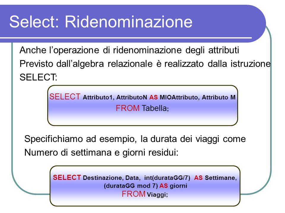 Select: Ridenominazione