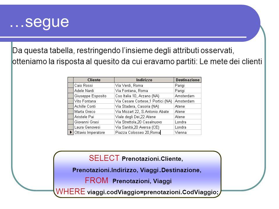 …segue Da questa tabella, restringendo l'insieme degli attributi osservati,