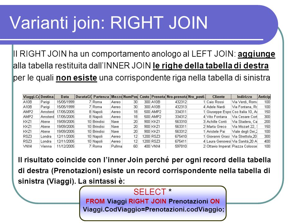 Varianti join: RIGHT JOIN
