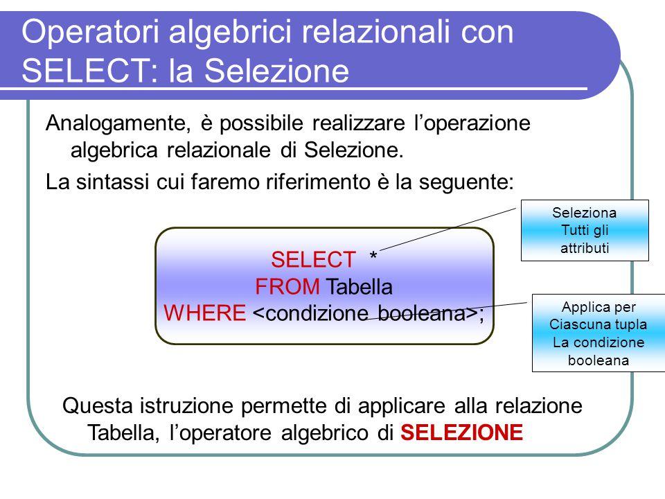 Operatori algebrici relazionali con SELECT: la Selezione