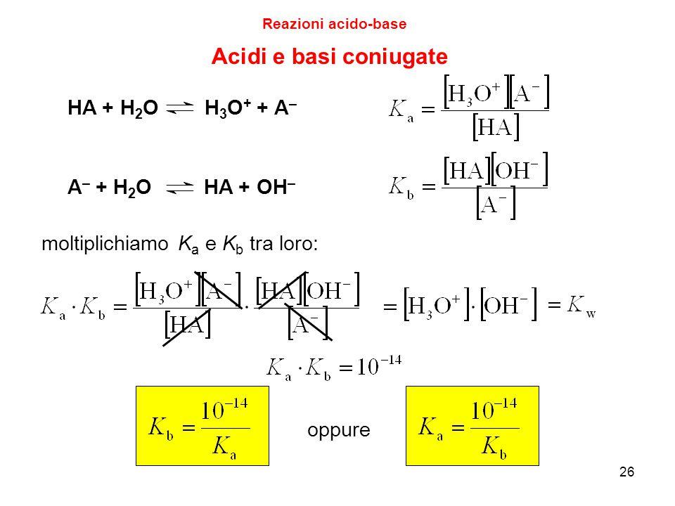 Acidi e basi coniugate HA + H2O H3O+ + A– A– + H2O HA + OH–