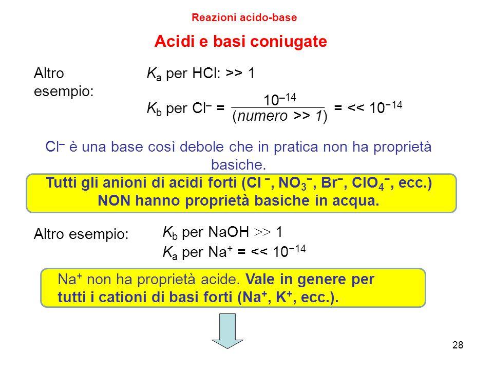 Acidi e basi coniugate Altro esempio: Ka per HCl: >> 1 10–14