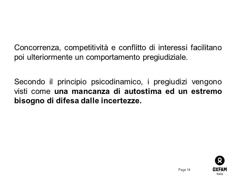 Concorrenza, competitività e conflitto di interessi facilitano poi ulteriormente un comportamento pregiudiziale.