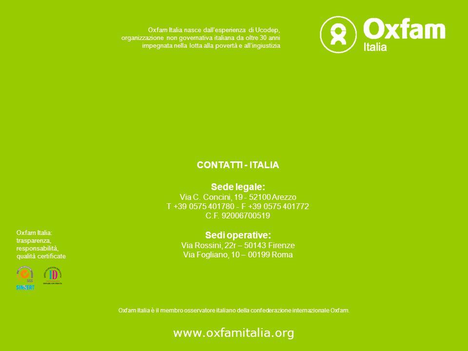 www.oxfamitalia.org CONTATTI - ITALIA Sede legale: Sedi operative: