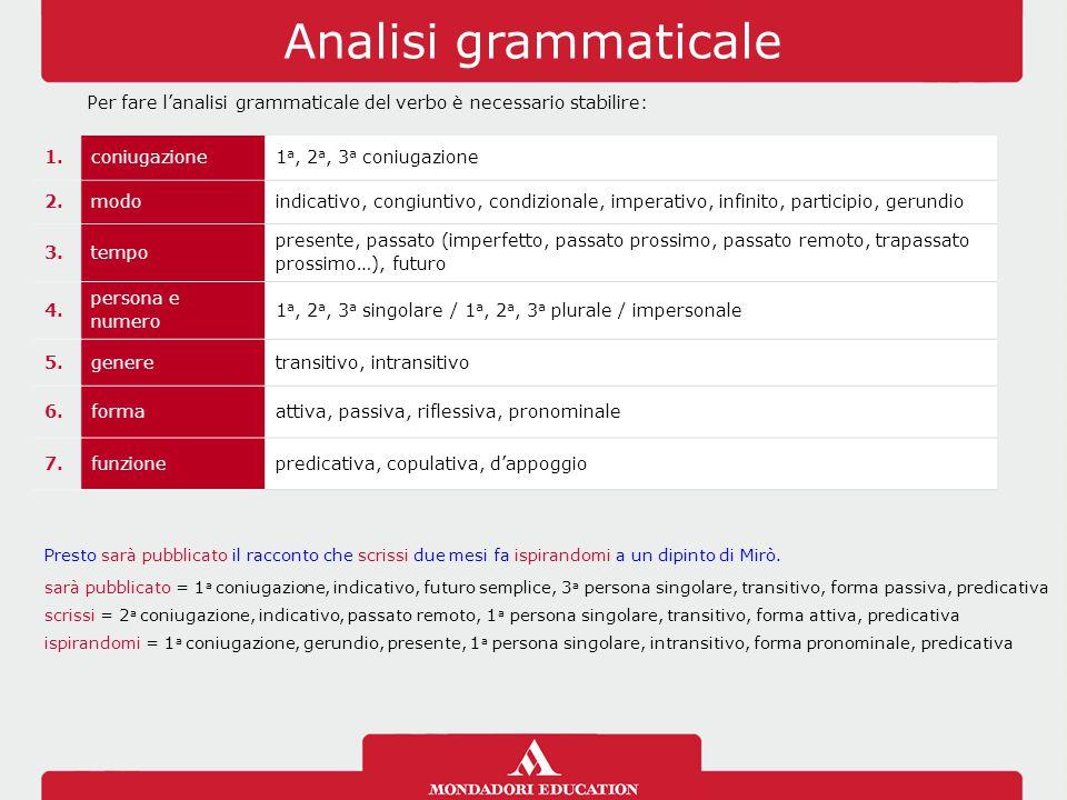 Analisi grammaticale Per fare l'analisi grammaticale del verbo è necessario stabilire: 1. coniugazione.