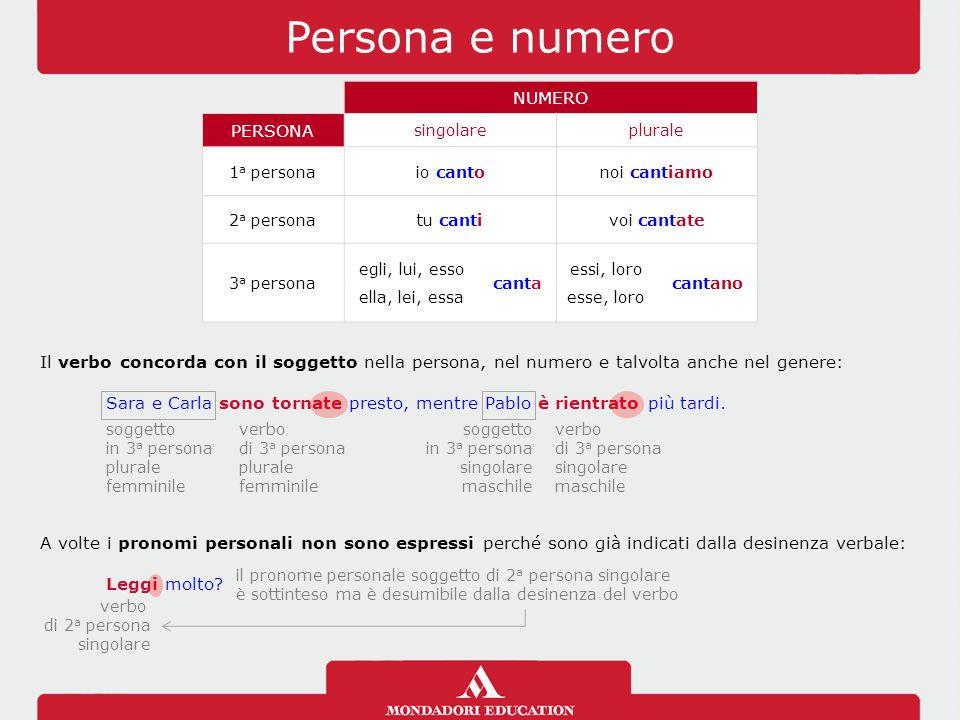 Persona e numero NUMERO PERSONA