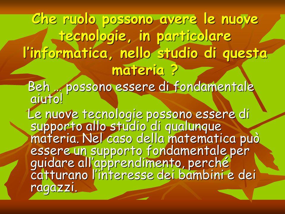 Che ruolo possono avere le nuove tecnologie, in particolare l'informatica, nello studio di questa materia