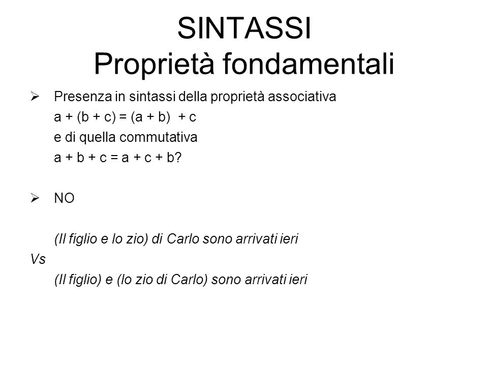 SINTASSI Proprietà fondamentali