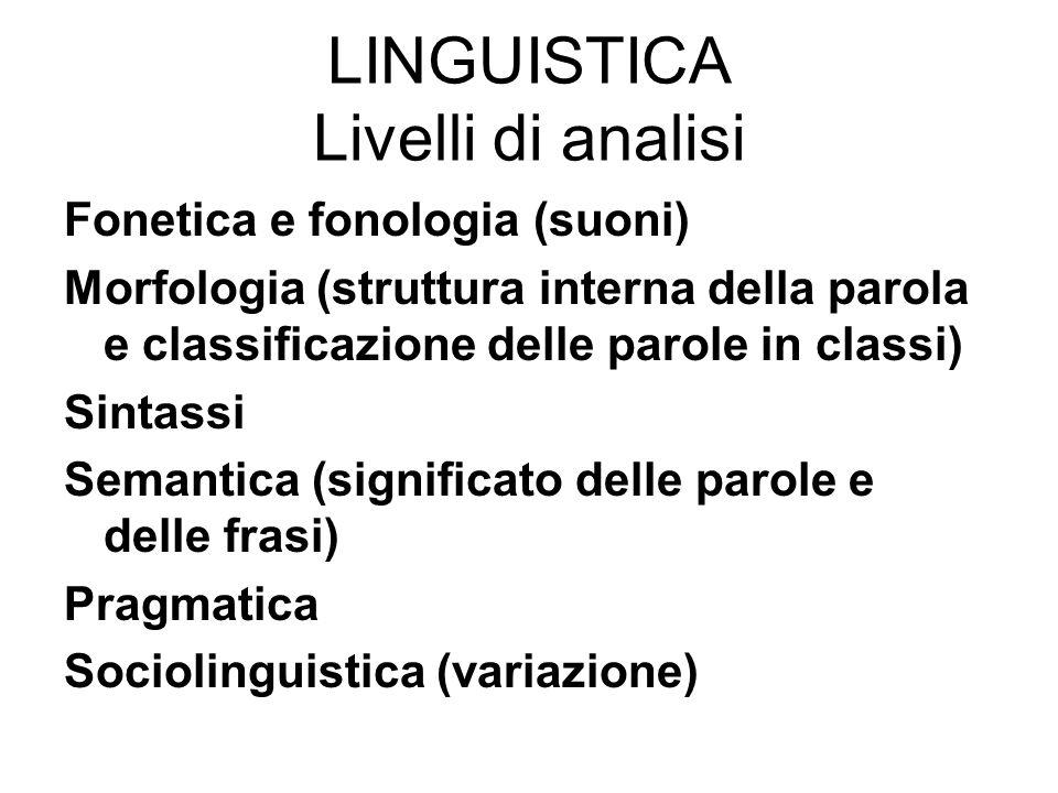 LINGUISTICA Livelli di analisi