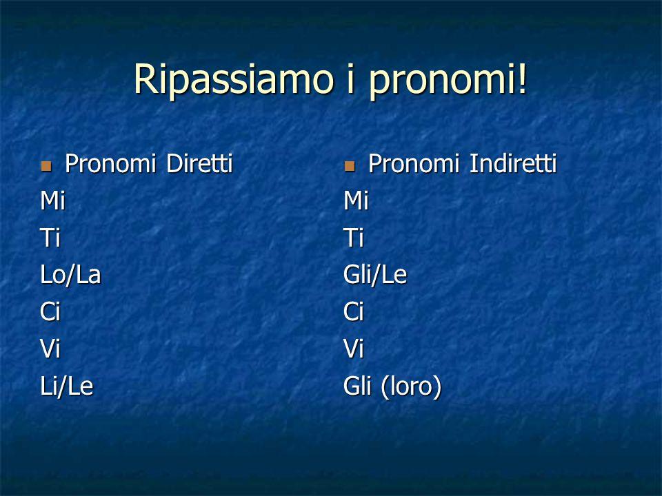 Ripassiamo i pronomi! Pronomi Diretti Mi Ti Lo/La Ci Vi Li/Le