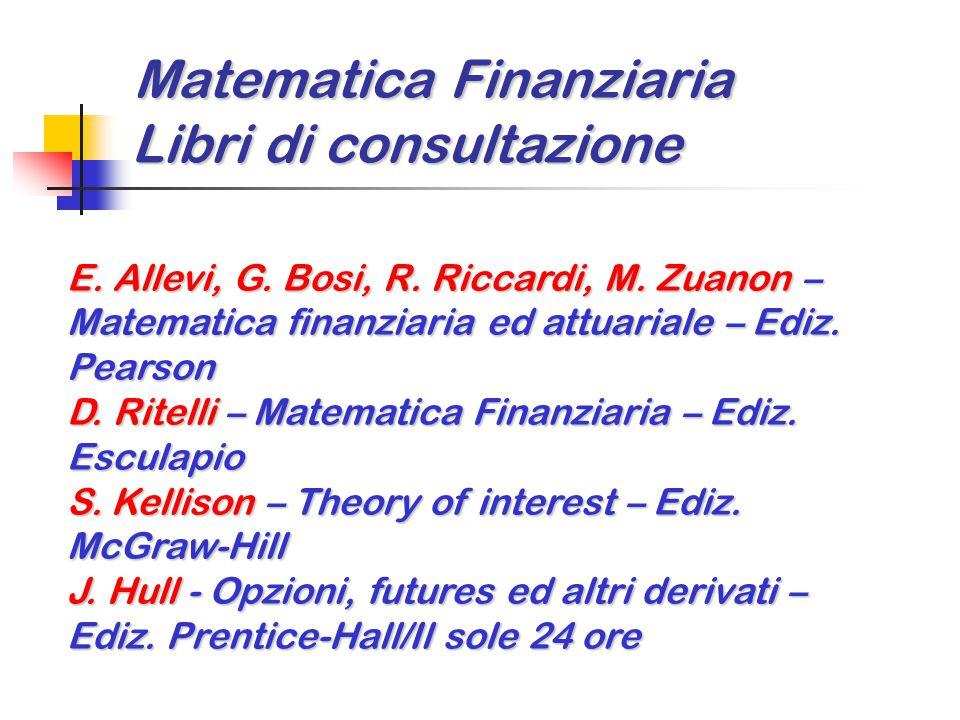 Matematica Finanziaria Libri di consultazione