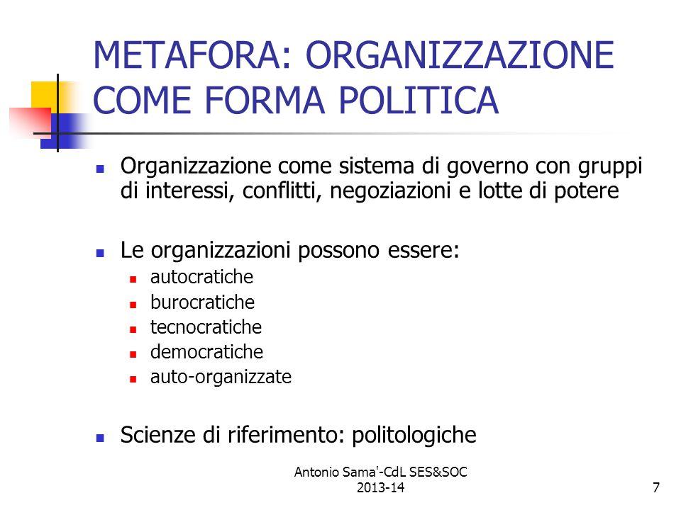 METAFORA: ORGANIZZAZIONE COME FORMA POLITICA