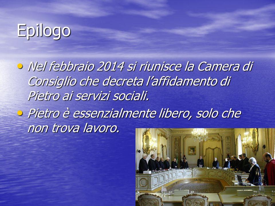Epilogo Nel febbraio 2014 si riunisce la Camera di Consiglio che decreta l'affidamento di Pietro ai servizi sociali.