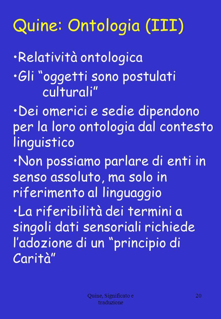 Quine: Ontologia (III)