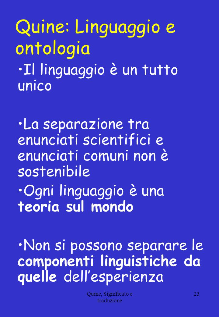 Quine: Linguaggio e ontologia
