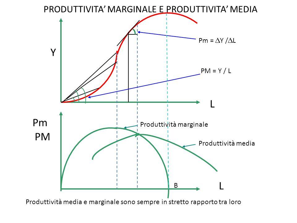PRODUTTIVITA' MARGINALE E PRODUTTIVITA' MEDIA