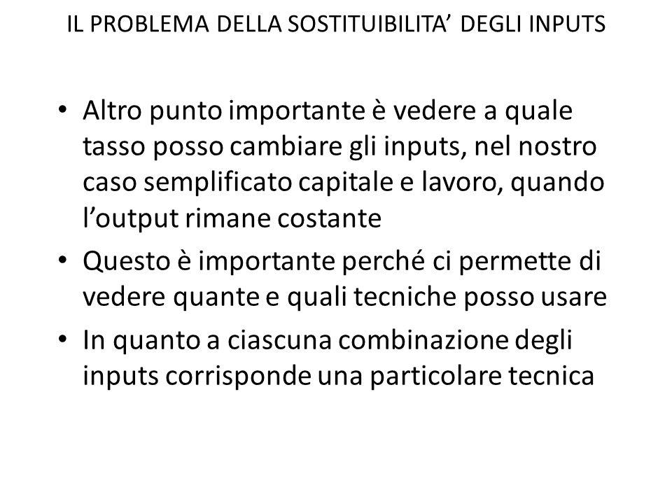 IL PROBLEMA DELLA SOSTITUIBILITA' DEGLI INPUTS