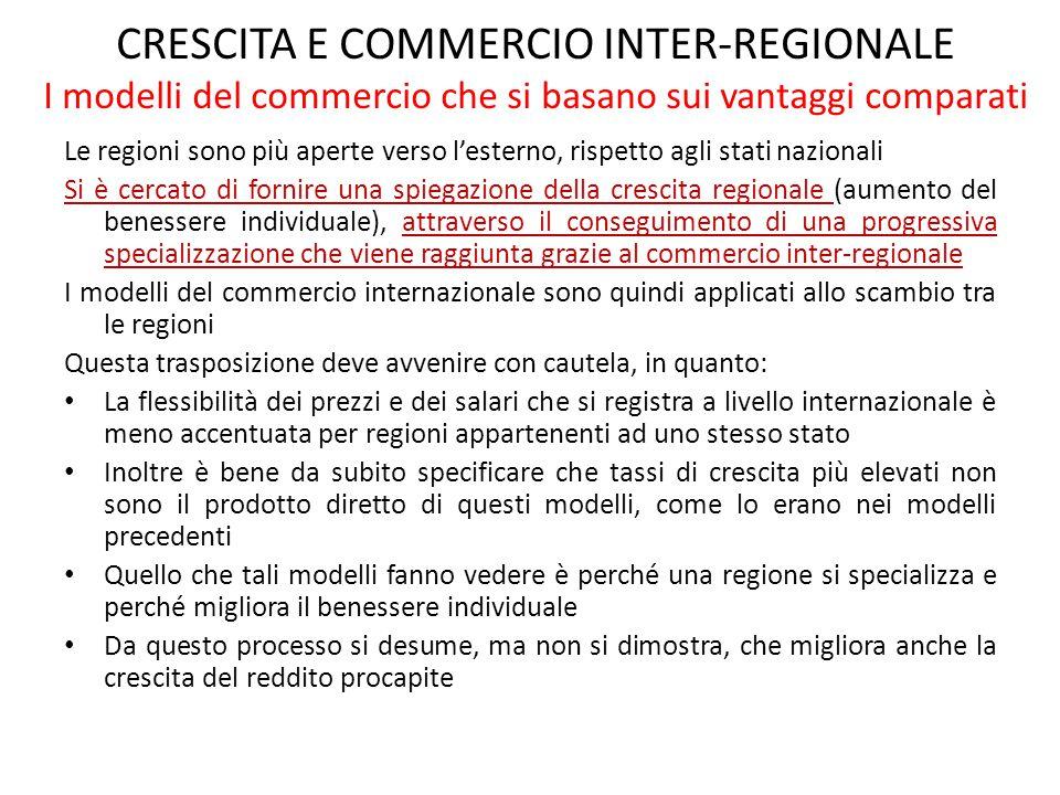 CRESCITA E COMMERCIO INTER-REGIONALE I modelli del commercio che si basano sui vantaggi comparati