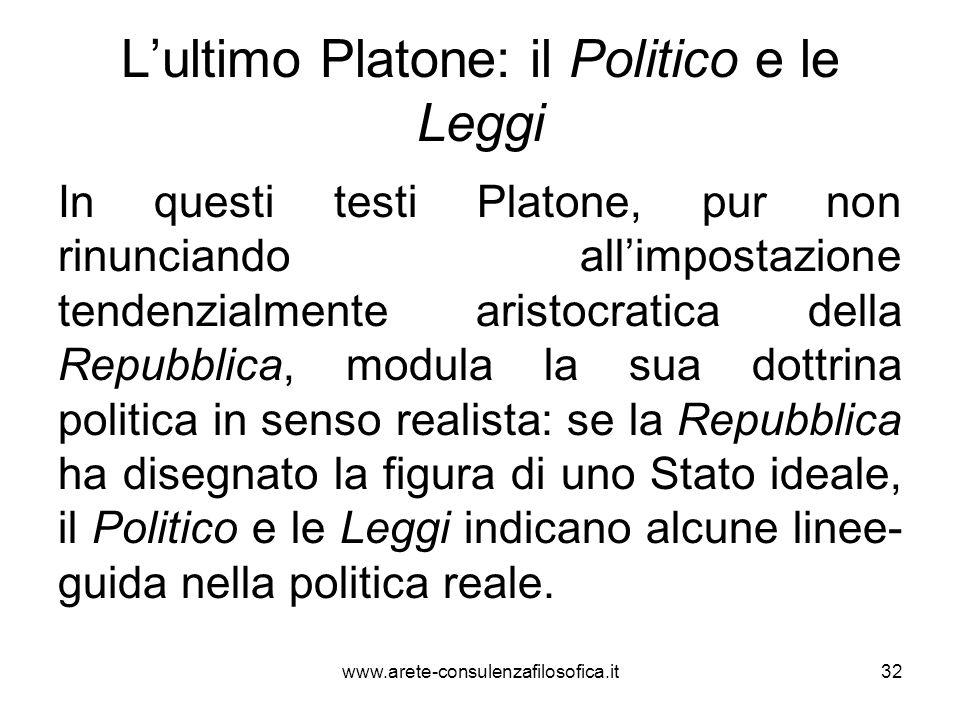 L'ultimo Platone: il Politico e le Leggi