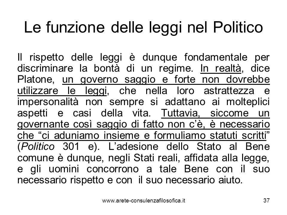 Le funzione delle leggi nel Politico