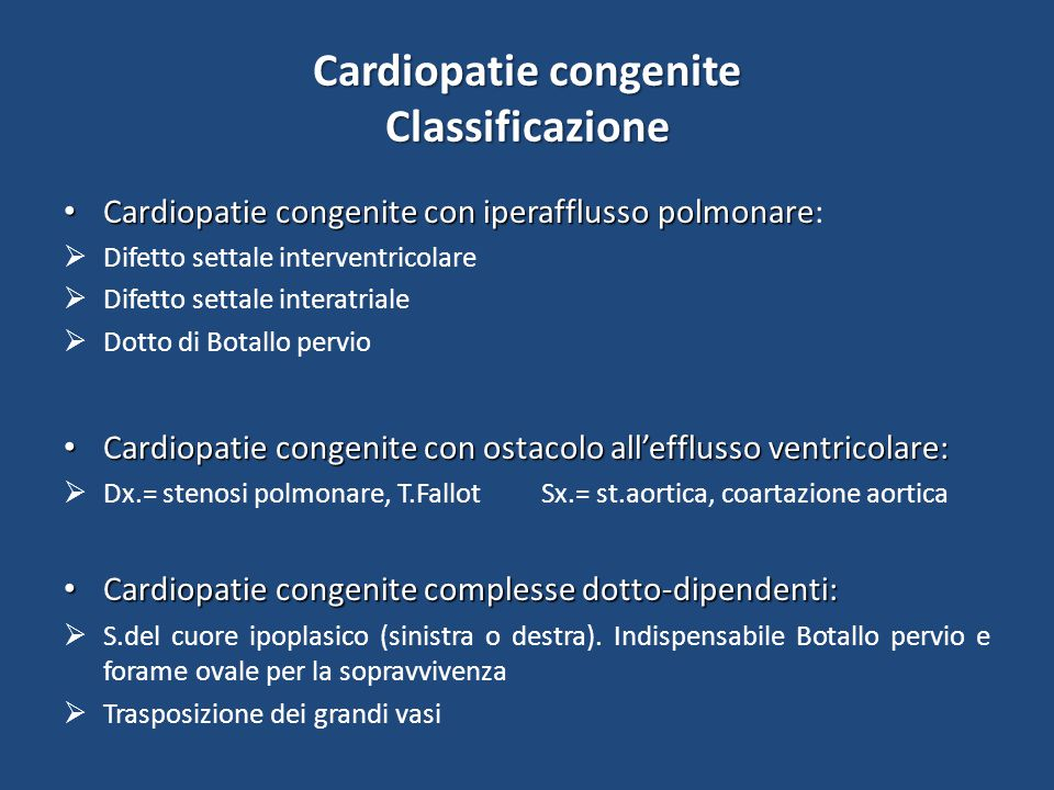 Cardiopatie congenite Classificazione