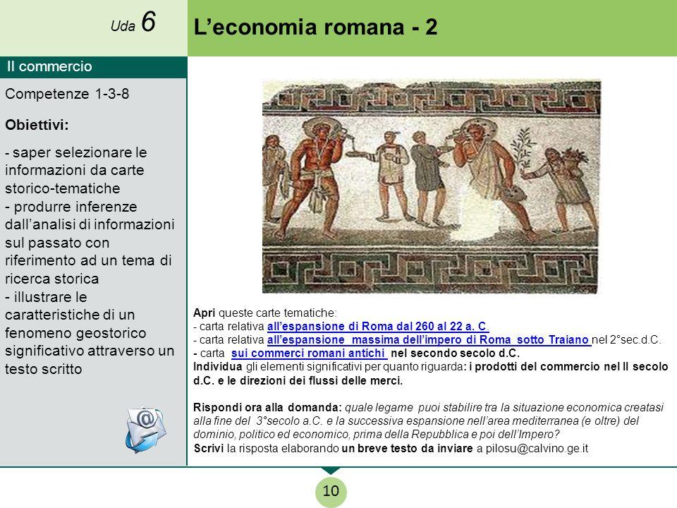 L'economia romana - 2 10 Il commercio Competenze 1-3-8 Obiettivi: