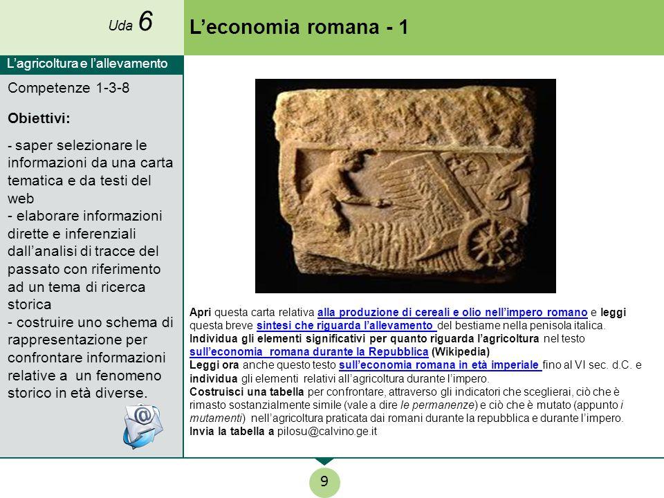 L'economia romana - 1 9 Competenze 1-3-8 Obiettivi: