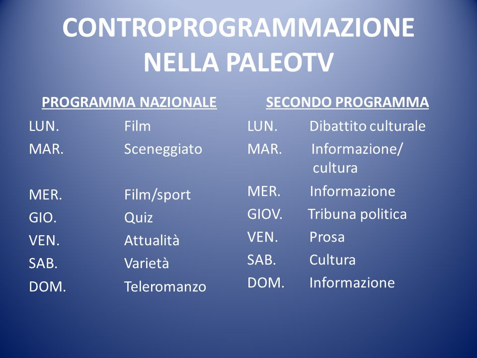 CONTROPROGRAMMAZIONE NELLA PALEOTV