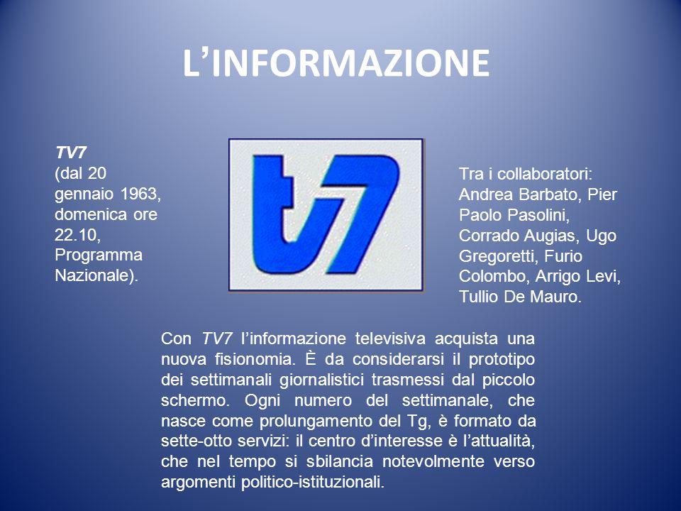 L'INFORMAZIONE TV7. (dal 20 gennaio 1963, domenica ore 22.10, Programma Nazionale).