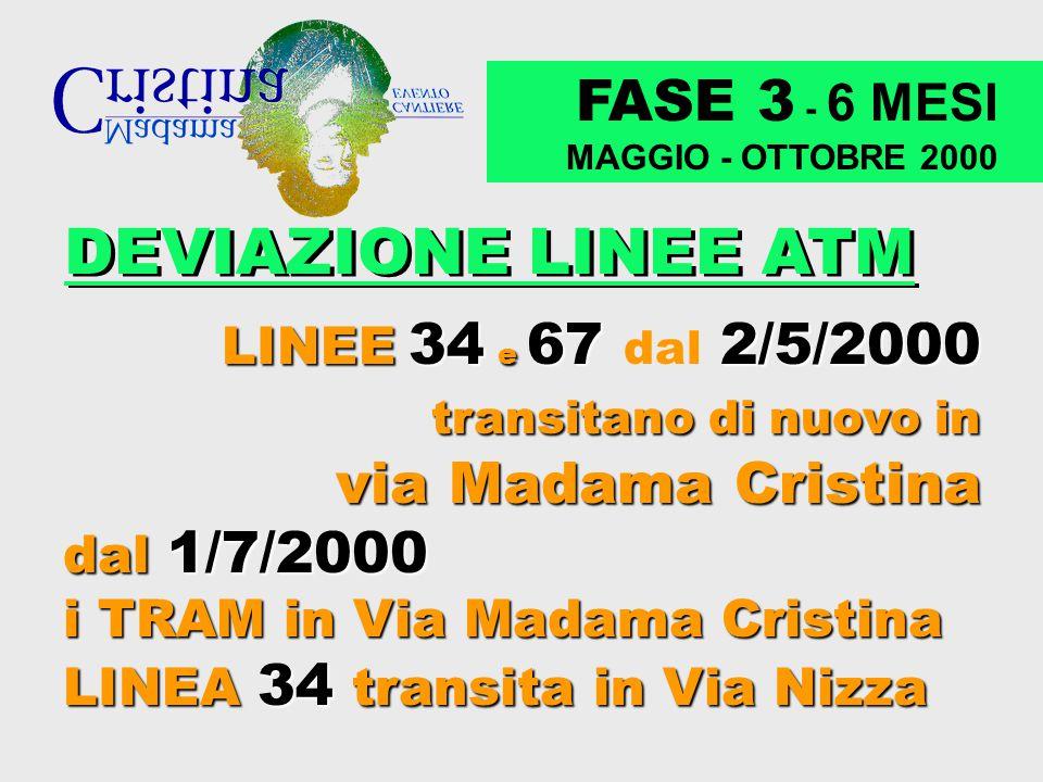 DEVIAZIONE LINEE ATM FASE 3 - 6 MESI via Madama Cristina